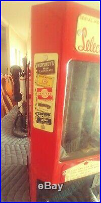 Vintage Select O Vend Sign Candy Gum Vending Machine and Key