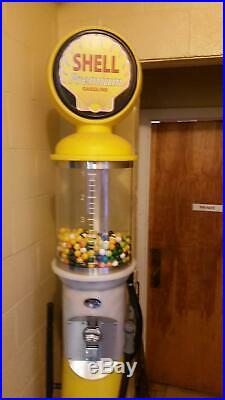 Vintage Shell 7 Tall Replica Coin Operated 1930s Gas Pump Gum Ball Machine