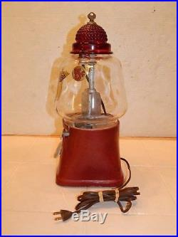 Vintage Silver King 5 Cent Hot Nut Dispenser with Ruby Red Glass Light Top
