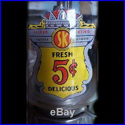 Vintage Silver King 5 cents Peanut Hot Nuts Gumball Machine Vending