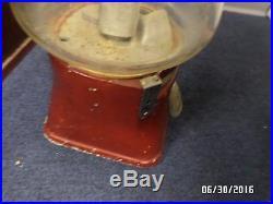 Vintage Silver King Hot Nut Peanut Vending Machine Has Rare Red Glass Dome & Key
