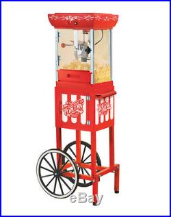 Vintage Style Popcorn Machine With Cart Stand Old Fashioned Pop Corn Popper New