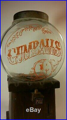 Vintage The Candy Man 1c Penny Gumball Machine with Original Glass Very Rare VTG