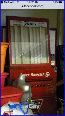 Vintage Toms Toasted Peanuts 5c Vending Machine Gas Station Coin Op Dispenser
