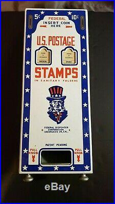 Vintage UNCLE SAM Stamp Machine 1940s US Mail Post Office Vending Coin Sign