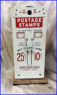 Vintage U. S. Postage Stamp Vending Machine 10, & 25 Cent Slots Machine No Key