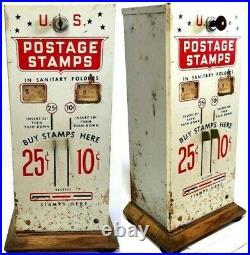 Vintage U. S. Postage Stamp Vending Machine 10, & 25 Cent Slots Machine with Key