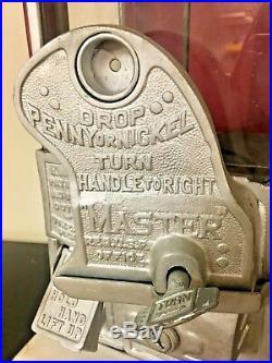 Vintage VTG Red Master Penny Nickel Gooseneck Gumball Peanut Vending Machine HTF