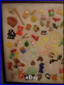 Vintage Vending Toy Gumball Cracker Jack Prize Charm Trinkets with Display Case