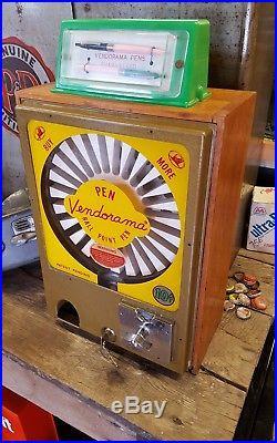 Vintage Vendorama Ball Point Pens Coin OP Metal Operating Dispensing Machine Key