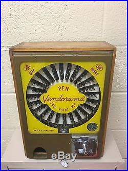 Vintage Vendorama Pen coin operated vending machine with key + skilcraft pens