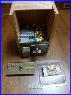 Vintage Victor Baby Grand Gumball Machine 25 Cent Oak Cabinet Candy Counter Top