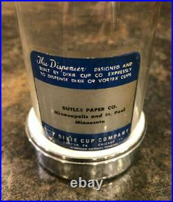 Vintage Vortex Dixie Cup Dispenser with Glass Tube and Wall Bracket