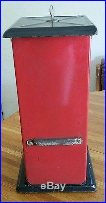 Vintage WORKING 1920's ORIGINAL Red 1 cent THE MASTER Candy/Gumball Machine