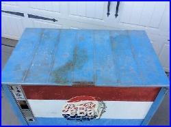Vintage Working PEPSI COLA Ideal Slider Drink Box Vending Machine Soda Cooler