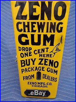 Vintage ZENO YELLOW PORCELAIN penny one cent Chewing GUM Machine