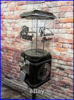 Vintage gumball machine glass coin op Indian motorcycle Americana memorabilia