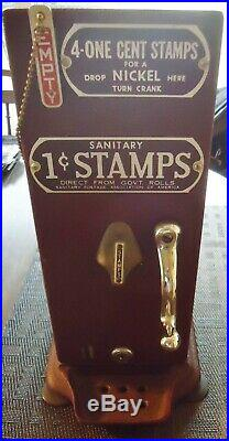Vintage sanitary one cent stamps machine by Schermack Products Co. Detroit, MI