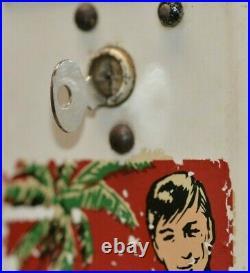 Vintage single column condom vending machine Hawaiian 4x4x31 with Key