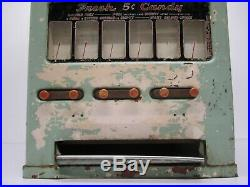 Vtg 1940s Univendor/Stoner Coin Operated Candy Gum Vending Machine 6 Slot As Is