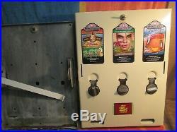 Vtg 3 Column Condom Vending Machine 25 Cent Vend 20X15X3.5 with Lock & Key nr