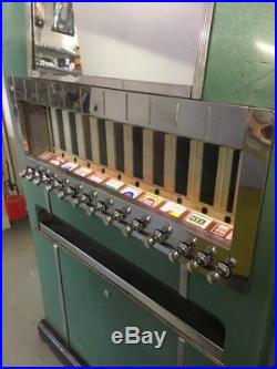 Vtg 50s Art Deco Cigarette Machine Vending Machine Lighted with key