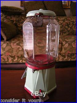 Vtg COLUMBUS One Cent 1 Penny Gumball Porcelain Cast Iron Vending Machine #325