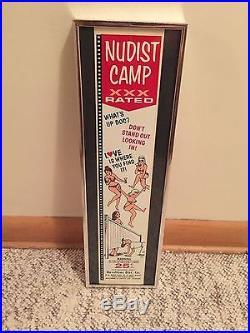 Vtg condom machine decal vending novelty NOS water transfer Nudist Camp rarest