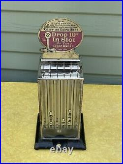 ZENO Collar Button Vender Vintage Vending Machine Coin Op Trade Stimulator 10c
