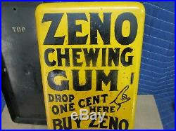 Zeno Yellow Porcelain Penny One Cent Chewing Gum Vending Machine, Old Vintage